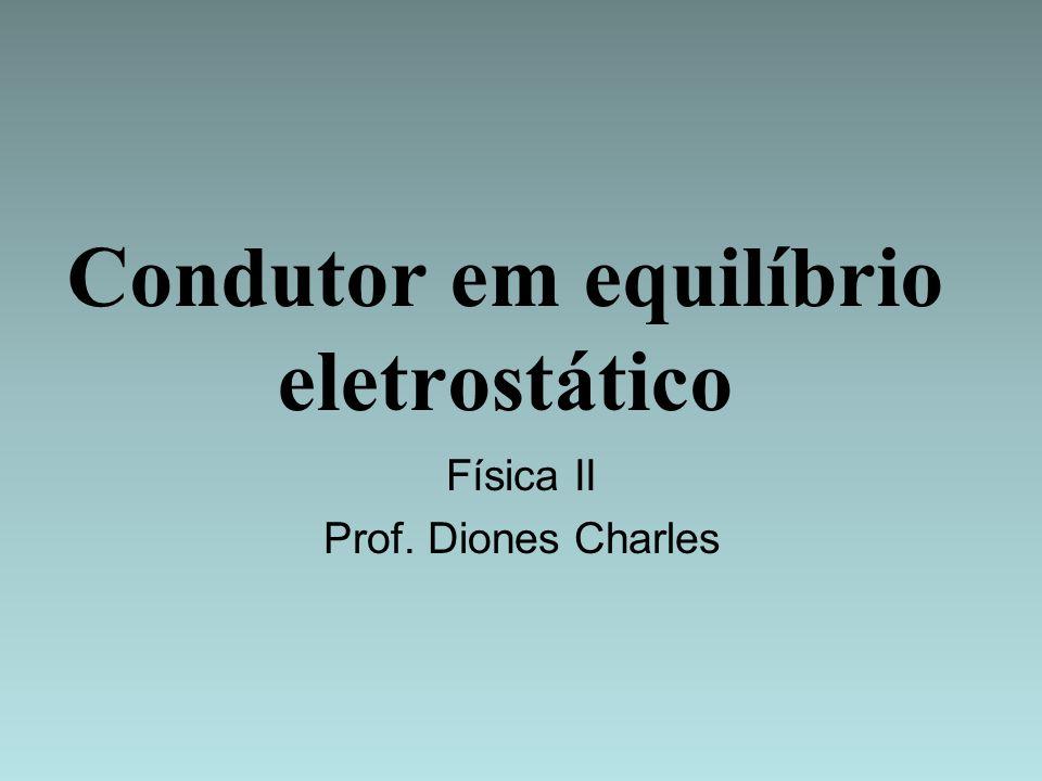 CONDUTORES EM EQUILÍBRIO ELETROSTÁTICO Vamos estudar o campo elétrico e o potencial elétrico de uma distribuição de cargas em um condutor em equilíbrio eletrostático.