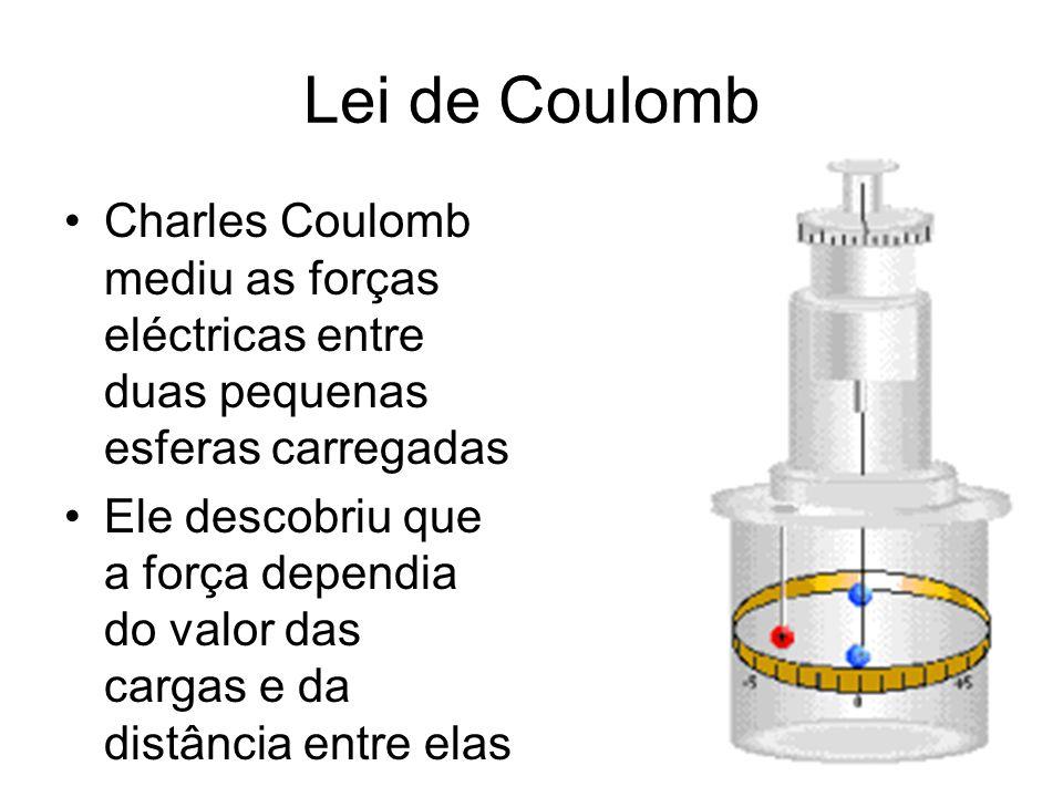 Lei de Coulomb Charles Coulomb mediu as forças eléctricas entre duas pequenas esferas carregadas Ele descobriu que a força dependia do valor das carga