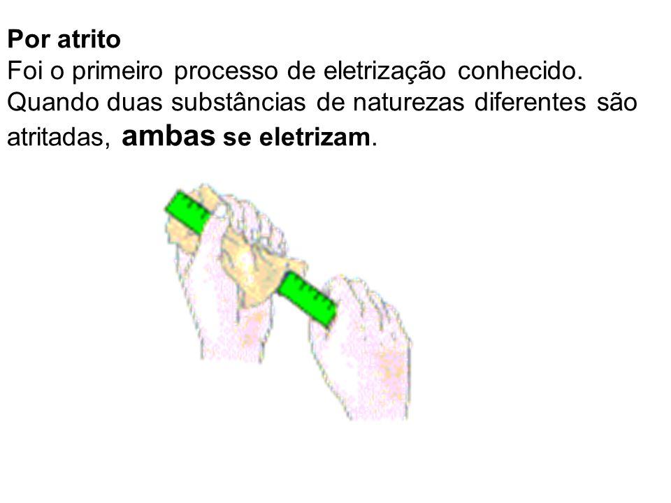 Por atrito Foi o primeiro processo de eletrização conhecido. Quando duas substâncias de naturezas diferentes são atritadas, ambas se eletrizam.