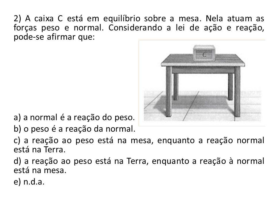 2) A caixa C está em equilíbrio sobre a mesa. Nela atuam as forças peso e normal. Considerando a lei de ação e reação, pode-se afirmar que: a) a norma