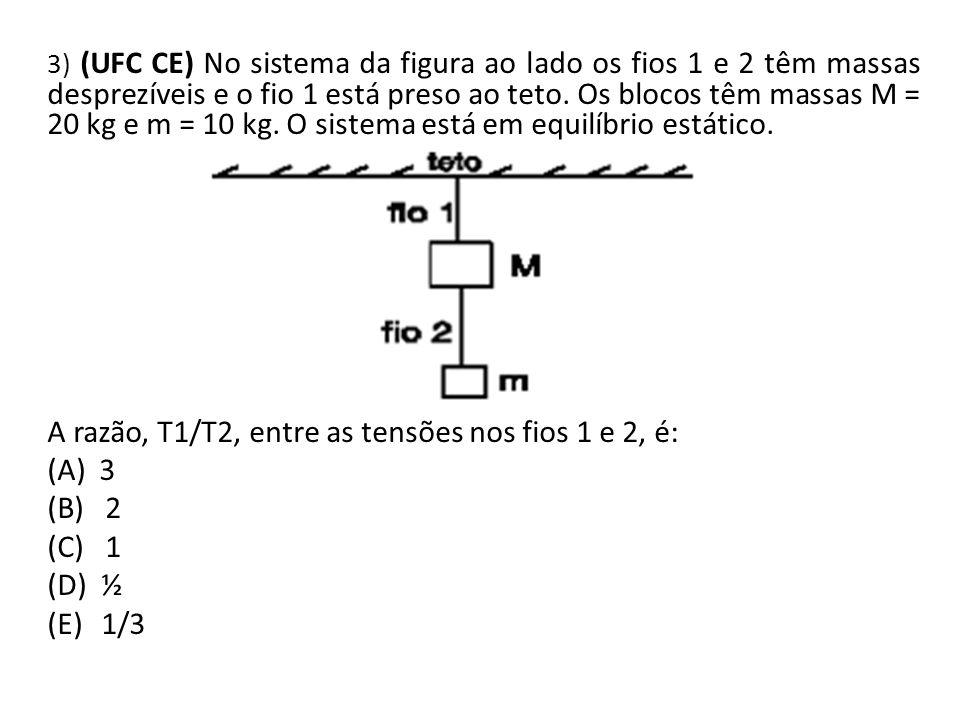 3) (UFC CE) No sistema da figura ao lado os fios 1 e 2 têm massas desprezíveis e o fio 1 está preso ao teto. Os blocos têm massas M = 20 kg e m = 10 k