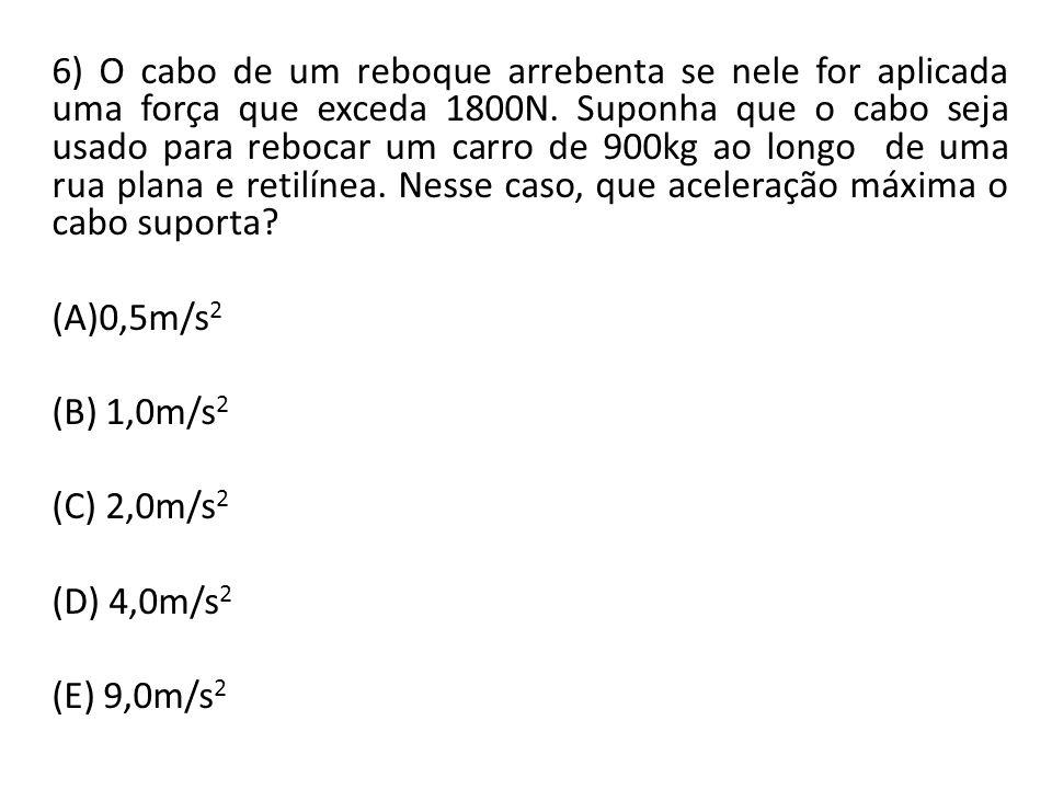 6) O cabo de um reboque arrebenta se nele for aplicada uma força que exceda 1800N. Suponha que o cabo seja usado para rebocar um carro de 900kg ao lon