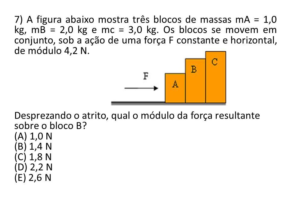 7) A figura abaixo mostra três blocos de massas mA = 1,0 kg, mB = 2,0 kg e mc = 3,0 kg. Os blocos se movem em conjunto, sob a ação de uma força F cons