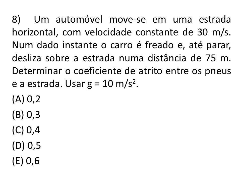 8) Um automóvel move-se em uma estrada horizontal, com velocidade constante de 30 m/s. Num dado instante o carro é freado e, até parar, desliza sobre