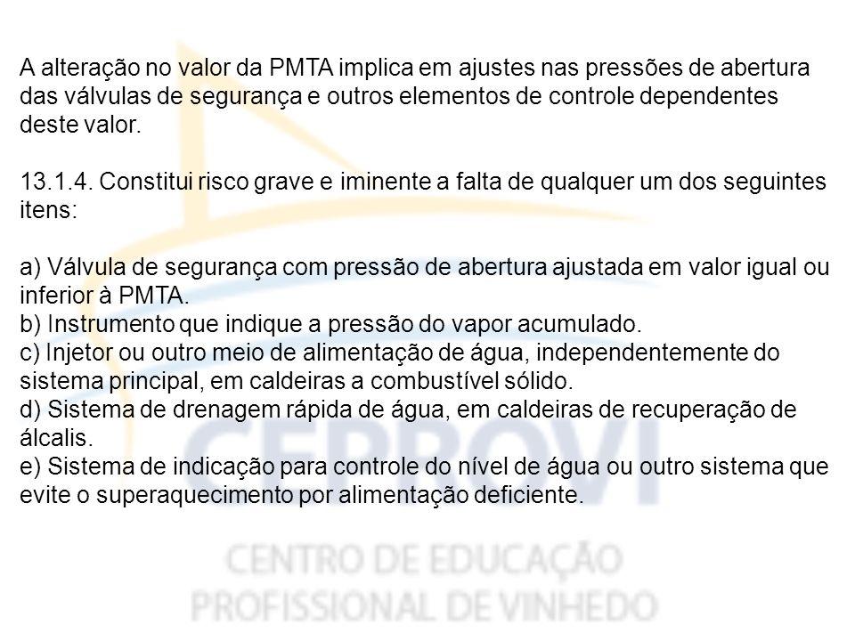 A alteração no valor da PMTA implica em ajustes nas pressões de abertura das válvulas de segurança e outros elementos de controle dependentes deste valor.