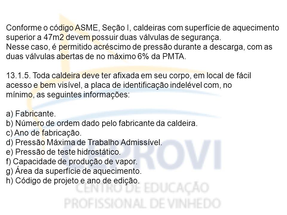 Conforme o código ASME, Seção I, caldeiras com superfície de aquecimento superior a 47m2 devem possuir duas válvulas de segurança.