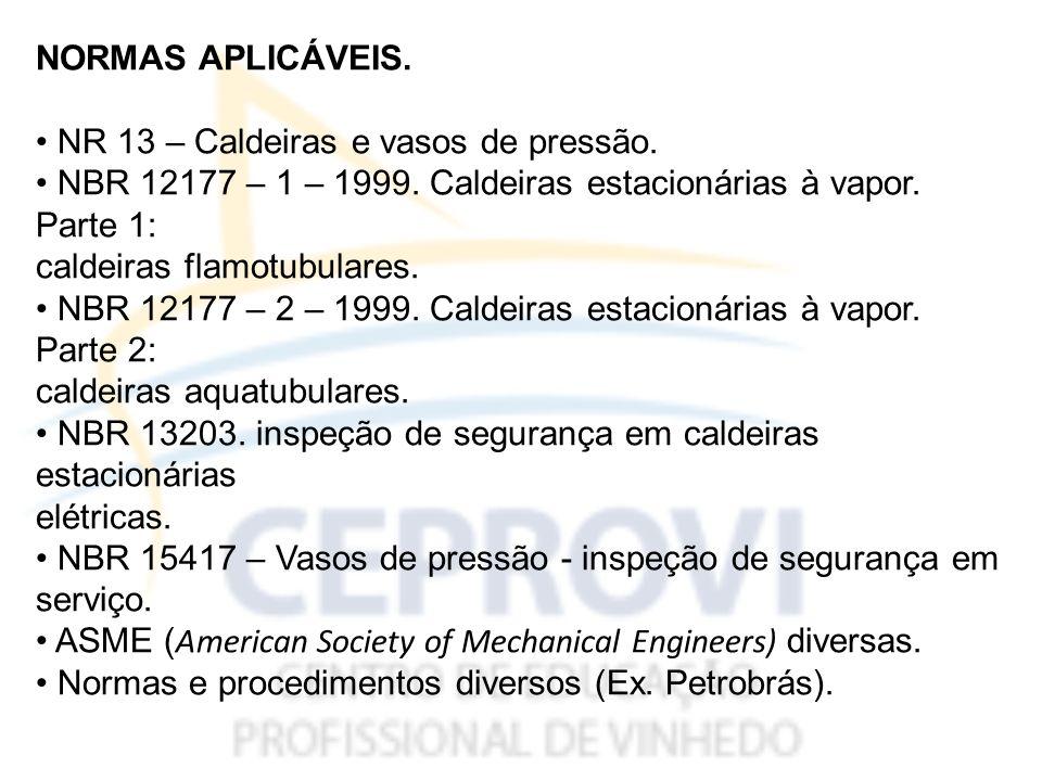 13.1.Caldeiras a vapor – disposições gerais. 13.1.1.