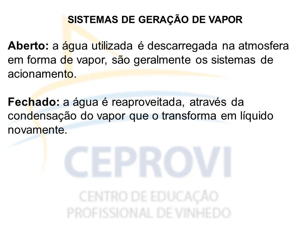 SISTEMAS DE GERAÇÃO DE VAPOR Aberto: a água utilizada é descarregada na atmosfera em forma de vapor, são geralmente os sistemas de acionamento.