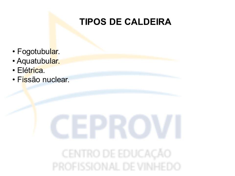 TIPOS DE CALDEIRA Fogotubular. Aquatubular. Elétrica. Fissão nuclear.