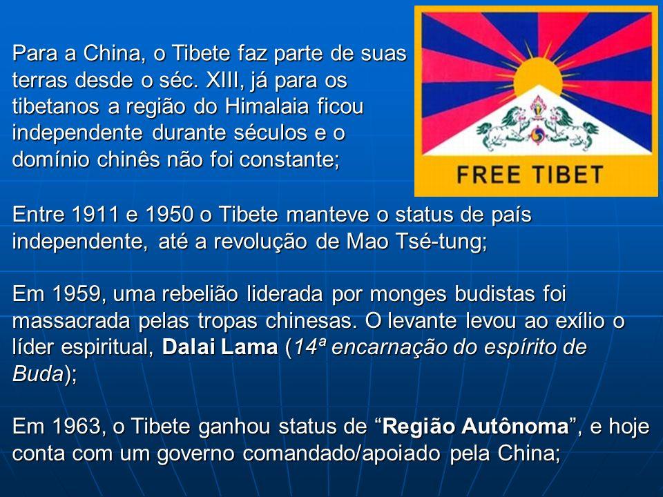 Entre 1911 e 1950 o Tibete manteve o status de país independente, até a revolução de Mao Tsé-tung; Em 1959, uma rebelião liderada por monges budistas