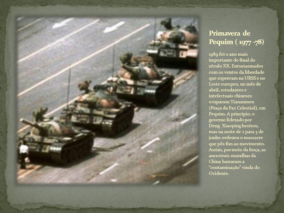1989 foi o ano mais importante do final do século XX. Entusiasmados com os ventos da liberdade que sopravam na URSS e no Leste europeu, no mês de abri