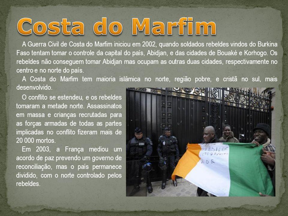 A Guerra Civil de Costa do Marfim iniciou em 2002, quando soldados rebeldes vindos do Burkina Faso tentam tomar o controle da capital do país, Abidjan