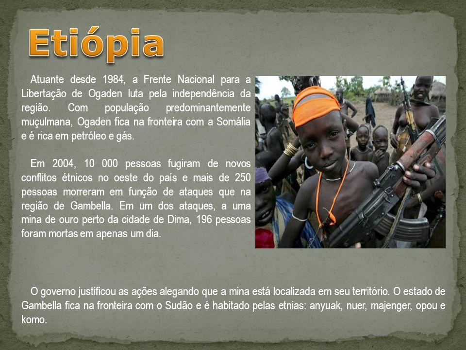Atuante desde 1984, a Frente Nacional para a Libertação de Ogaden luta pela independência da região. Com população predominantemente muçulmana, Ogaden