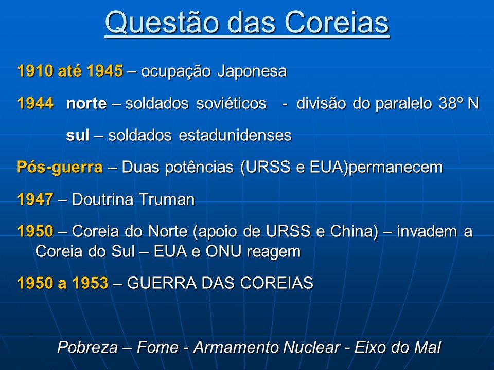 Questão das Coreias 1910 até 1945 – ocupação Japonesa 1944 norte – soldados soviéticos - divisão do paralelo 38º N sul – soldados estadunidenses Pós-g
