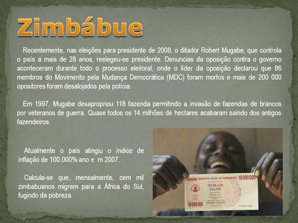 Recentemente, nas eleições para presidente de 2008, o ditador Robert Mugabe, que controla o país a mais de 28 anos, reelegeu-se presidente. Denuncias