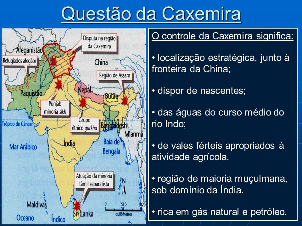 Questão da Caxemira O controle da Caxemira significa: localização estratégica, junto à fronteira da China; dispor de nascentes; das águas do curso méd