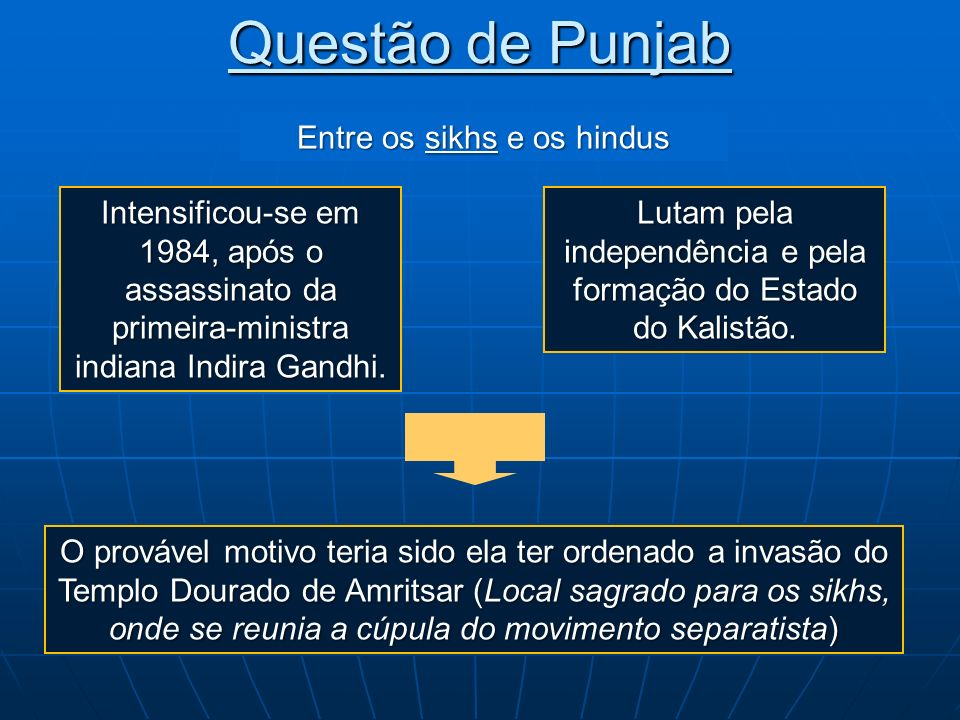 Questão de Punjab Lutam pela independência e pela formação do Estado do Kalistão. Entre os sikhse os hindus Entre os sikhs e os hindus Intensificou-se