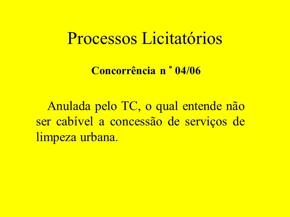 Processos Licitatórios Concorrência n ° 04/06 Anulada pelo TC, o qual entende não ser cabível a concessão de serviços de limpeza urbana.
