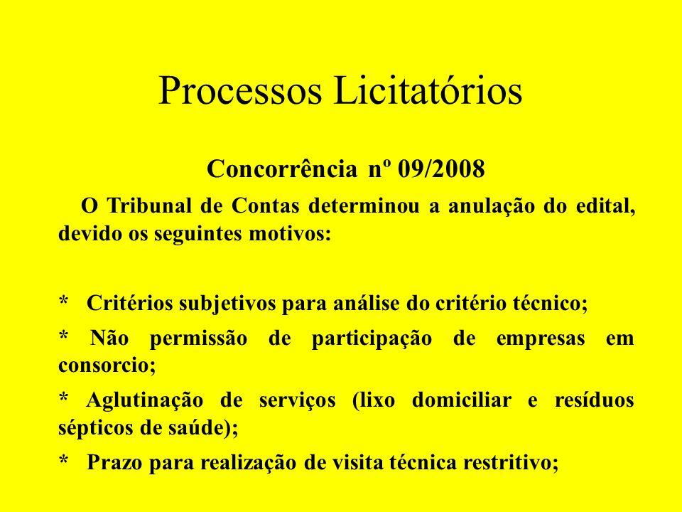 Processos Licitatórios Concorrência nº 09/2008 O Tribunal de Contas determinou a anulação do edital, devido os seguintes motivos: * Critérios subjetiv