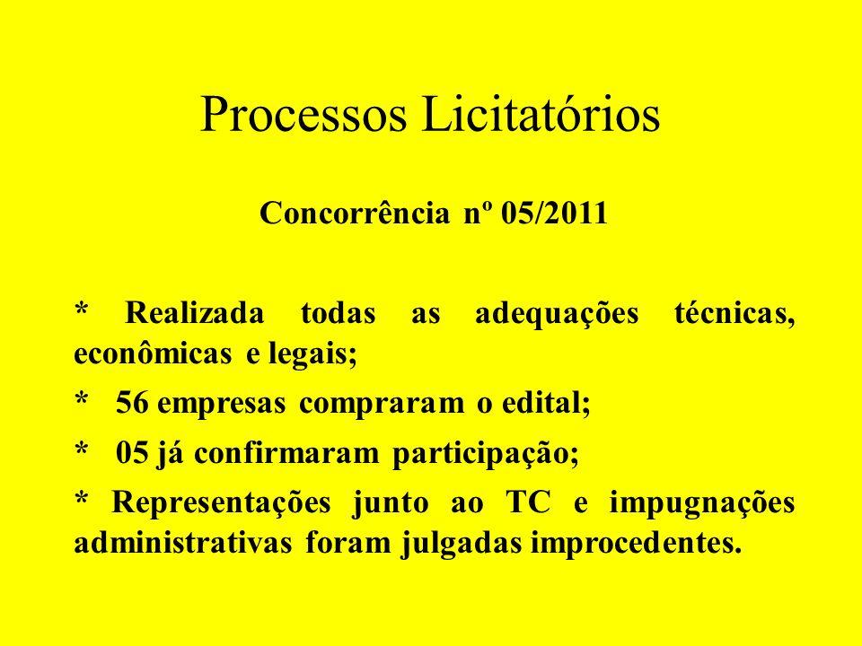 Processos Licitatórios Concorrência nº 05/2011 * Realizada todas as adequações técnicas, econômicas e legais; * 56 empresas compraram o edital; * 05 j