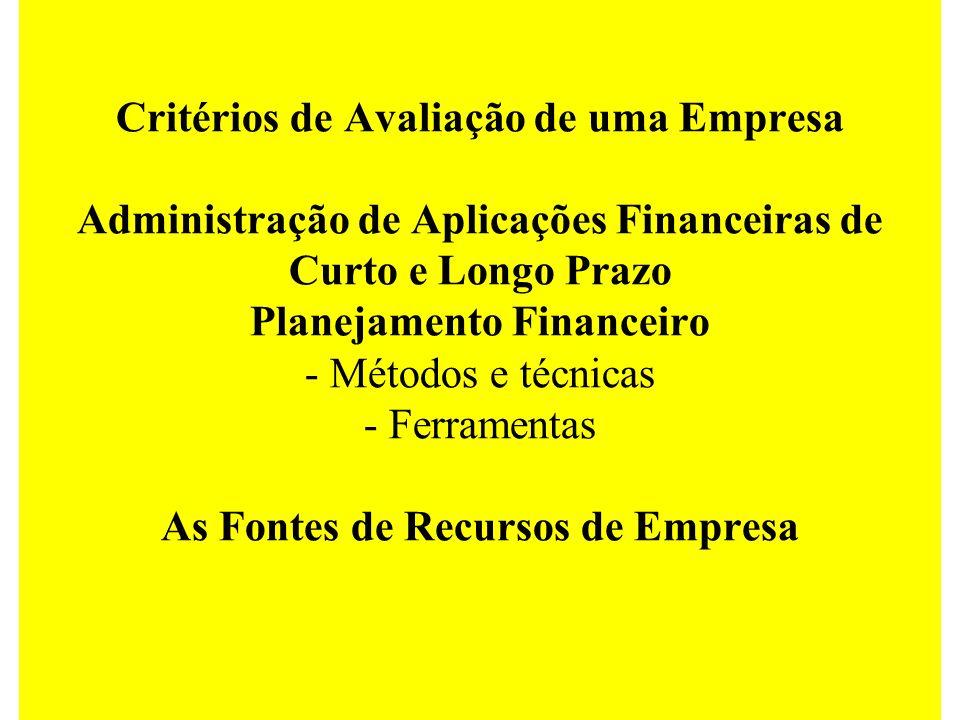 Critérios de Avaliação de uma Empresa Administração de Aplicações Financeiras de Curto e Longo Prazo Planejamento Financeiro - Métodos e técnicas - Fe