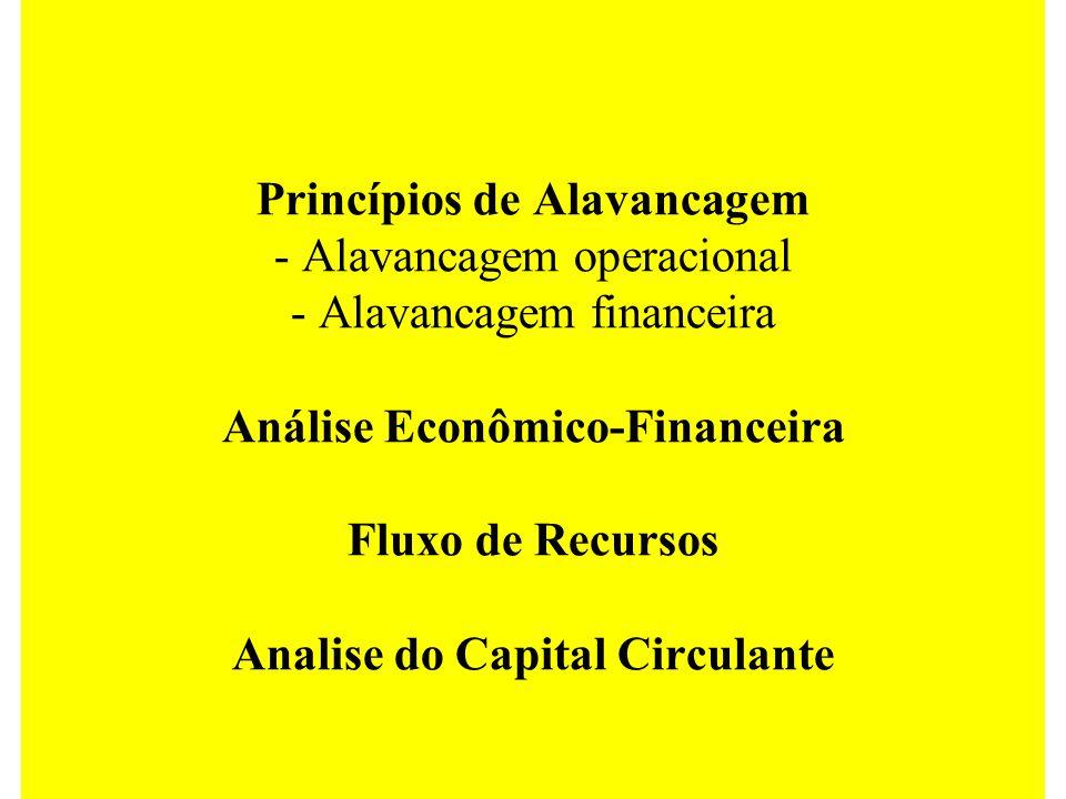 Princípios de Alavancagem - Alavancagem operacional - Alavancagem financeira Análise Econômico-Financeira Fluxo de Recursos Analise do Capital Circula
