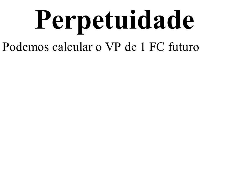 Perpetuidade Podemos calcular o VP de 1 FC futuro Usando a MONOFORMULA