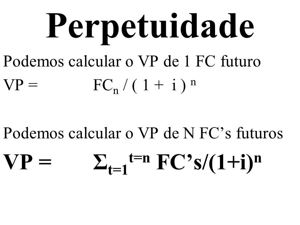 Perpetuidade Podemos calcular o VP de 1 FC futuro VP = FC n / ( 1 + i ) n Podemos calcular o VP de N FCs futuros VP = Σ t=1 t=n FCs/(1+i) n Podemos calcular o VP de FCs futuros VP = Σ t=1 t= FCs/(1+i) n