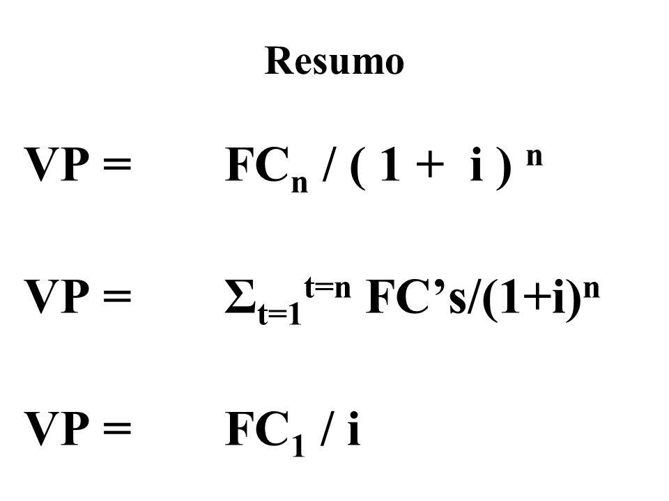 Resumo VP = FC n / ( 1 + i ) n VP = Σ t=1 t=n FCs/(1+i) n VP = FC 1 / i
