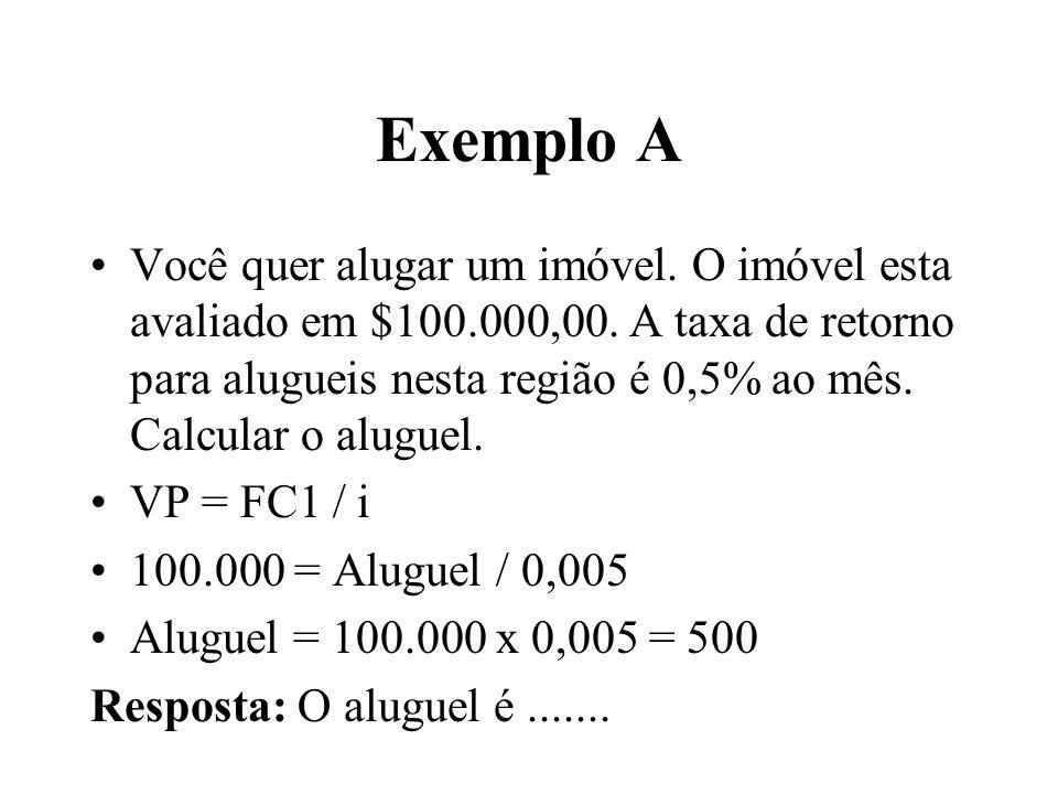 Exemplo A Você quer alugar um imóvel. O imóvel esta avaliado em $100.000,00. A taxa de retorno para alugueis nesta região é 0,5% ao mês. Calcular o al