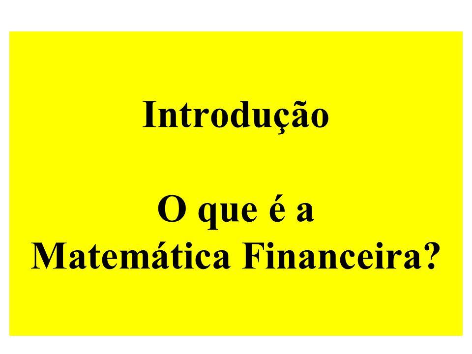 Introdução O que é a Matemática Financeira?