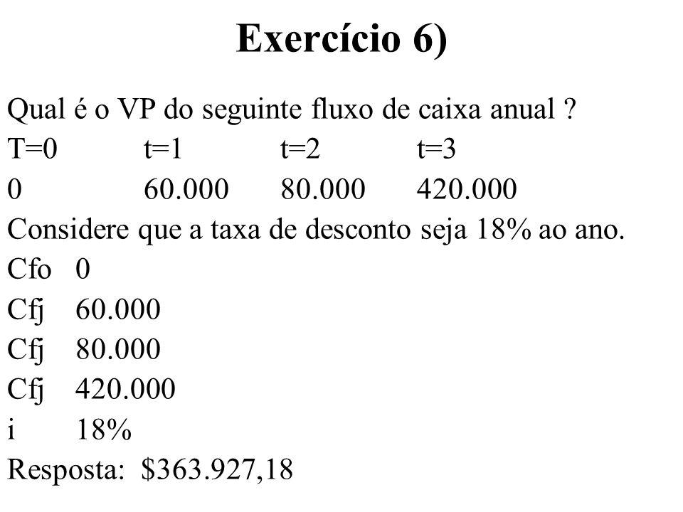 Exercício 7) Qual é a taxa semestral composta equivalente a uma taxa mensal de 1% ao mes.