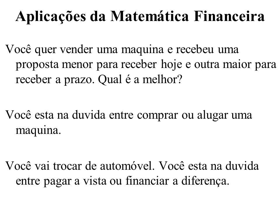 1) Aplicação da Matemática Financeira Você quer vender uma maquina e recebeu 2 propostas a) $100,00 a vista b) $104,00 a serem pagos ao final de 30 dias Qual é a melhor alternativa.