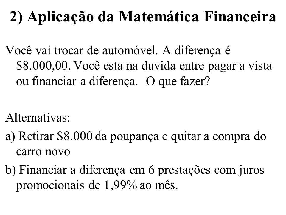 2) Aplicação da Matemática Financeira Você vai trocar de automóvel. A diferença é $8.000,00. Você esta na duvida entre pagar a vista ou financiar a di