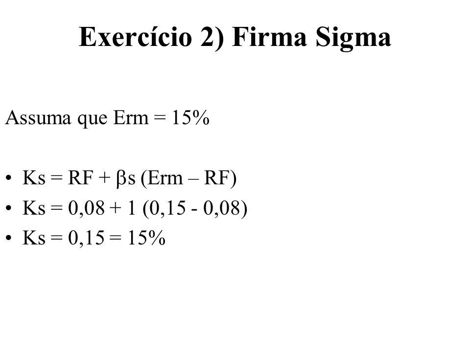 Exercício 3) Firma Bruma Kb = (K1 + K2 + K3)/3 Kb = (0,24 + 0,23 + 0,25)/3 Kb = 0,24 = 24%