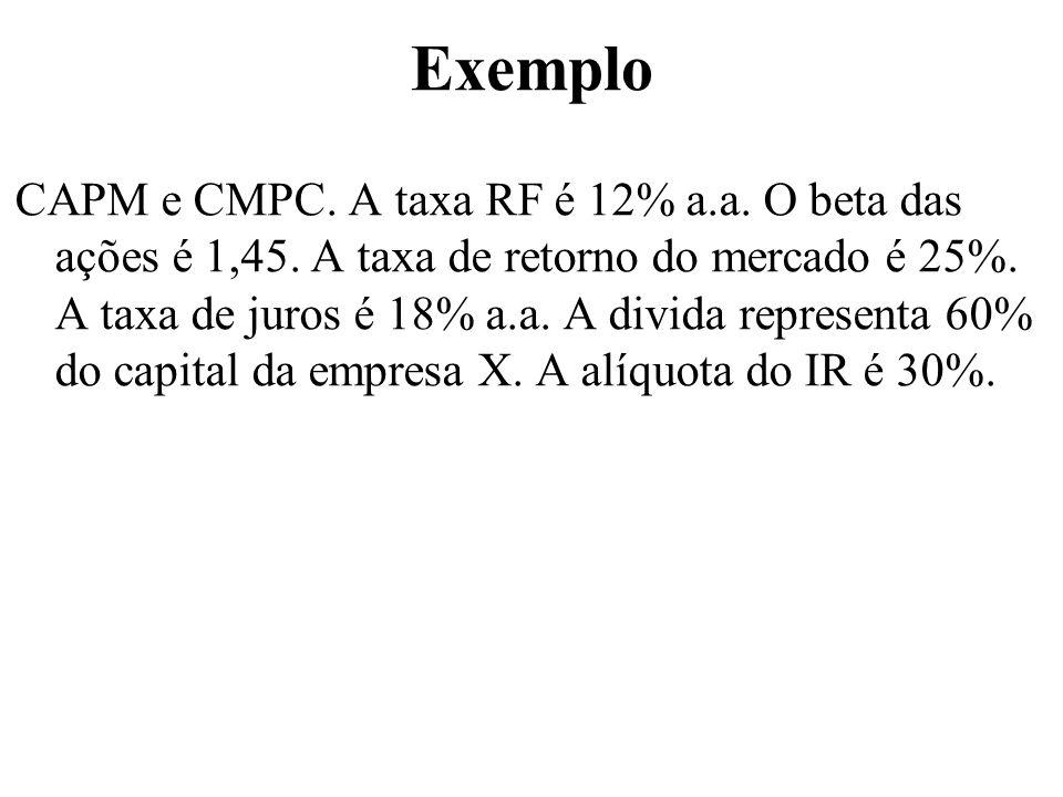 Exemplo CAPM e CMPC. A taxa RF é 12% a.a. O beta das ações é 1,45. A taxa de retorno do mercado é 25%. A taxa de juros é 18% a.a. A divida representa