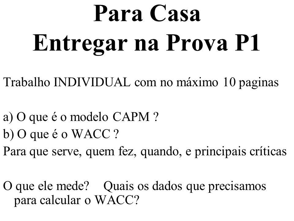 Para Casa Entregar na Prova P1 Trabalho INDIVIDUAL com no máximo 10 paginas a) O que é o modelo CAPM ? b) O que é o WACC ? Para que serve, quem fez, q