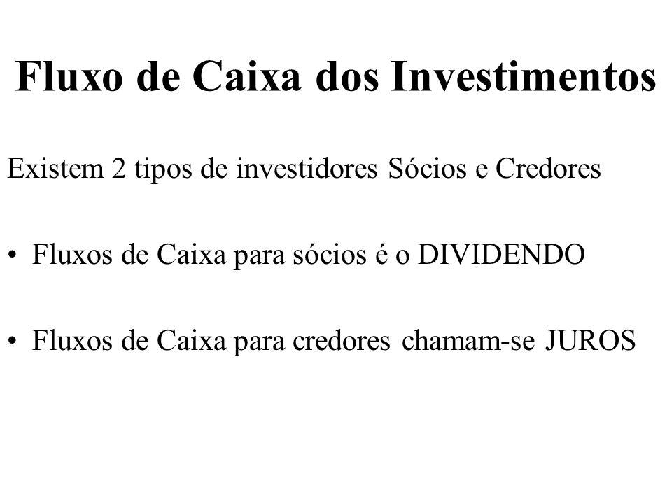 Fluxo de Caixa dos Investimentos Existem 2 tipos de investidores Sócios e Credores Fluxos de Caixa para sócios é o DIVIDENDO Fluxos de Caixa para cred