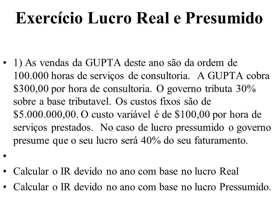 Exercício Lucro Real e Presumido 1) As vendas da GUPTA deste ano são da ordem de 100.000 horas de serviços de consultoria.