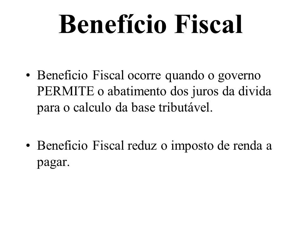 Beneficio Fiscal ocorre quando o governo PERMITE o abatimento dos juros da divida para o calculo da base tributável. Beneficio Fiscal reduz o imposto