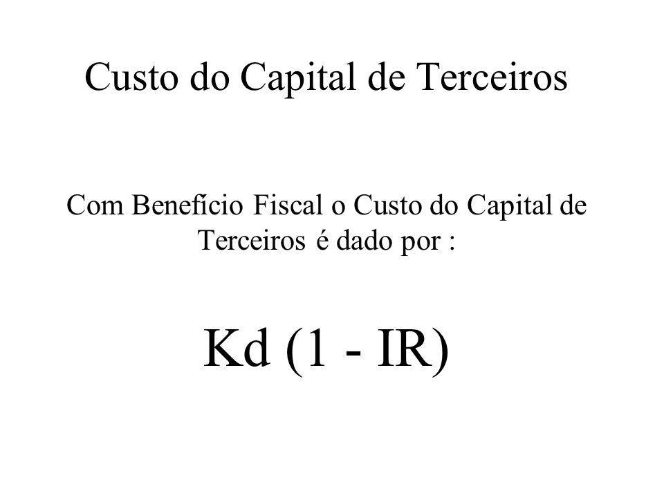 Custo do Capital de Terceiros Com Benefício Fiscal o Custo do Capital de Terceiros é dado por : Kd (1 - IR)