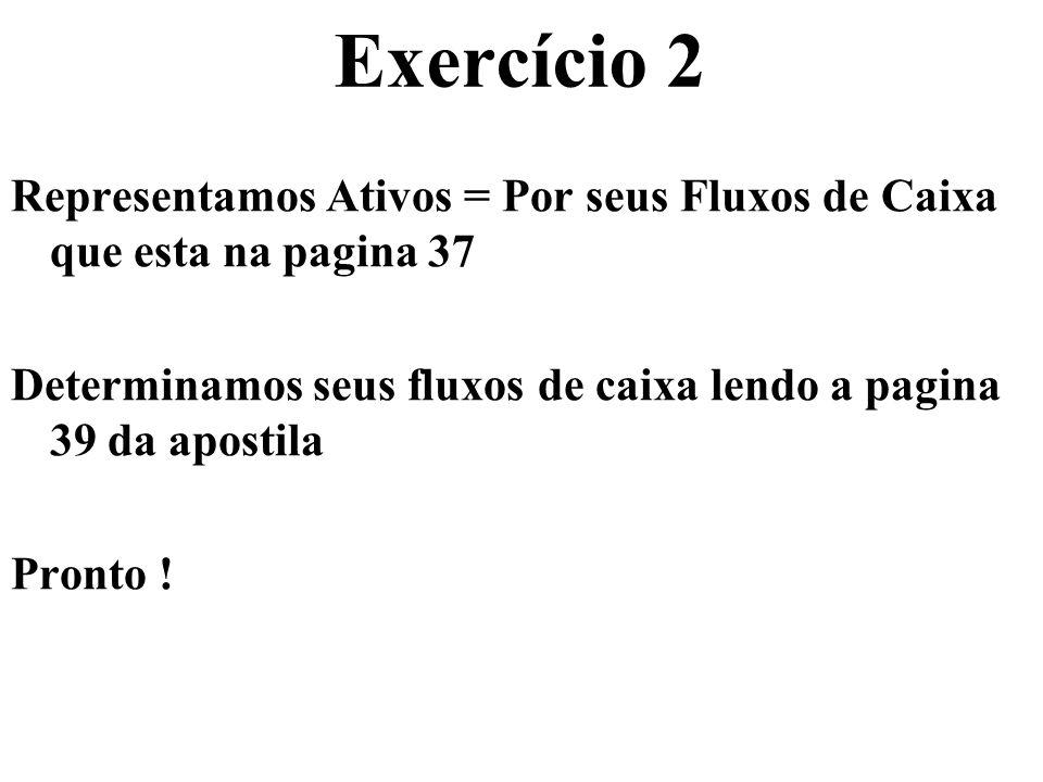 Exercício 2 Representamos Ativos = Por seus Fluxos de Caixa que esta na pagina 37 Determinamos seus fluxos de caixa lendo a pagina 39 da apostila Pron