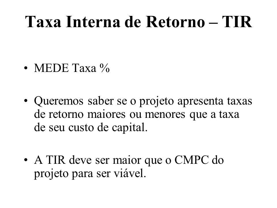 Taxa Interna de Retorno – TIR MEDE Taxa % Queremos saber se o projeto apresenta taxas de retorno maiores ou menores que a taxa de seu custo de capital