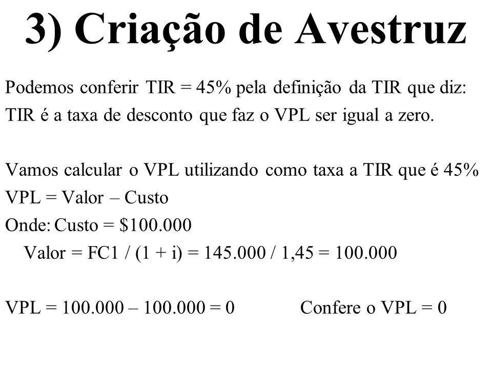 3) Criação de Avestruz Podemos conferir TIR = 45% pela definição da TIR que diz: TIR é a taxa de desconto que faz o VPL ser igual a zero. Vamos calcul
