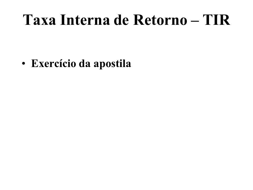 1) Taxa Interna de Retorno – TIR t=0t=1t=2t=3t=36 -1008888+50