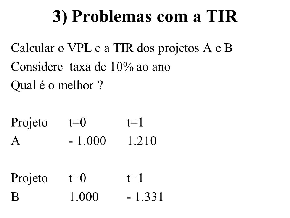 3) Problemas com a TIR Calcular o VPL e a TIR dos projetos A e B Considere taxa de 10% ao ano Qual é o melhor ? Projetot=0t=1 A- 1.000 1.210 Projetot=