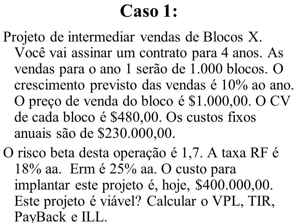 Caso 1: Projeto de intermediar vendas de Blocos X. Você vai assinar um contrato para 4 anos. As vendas para o ano 1 serão de 1.000 blocos. O crescimen