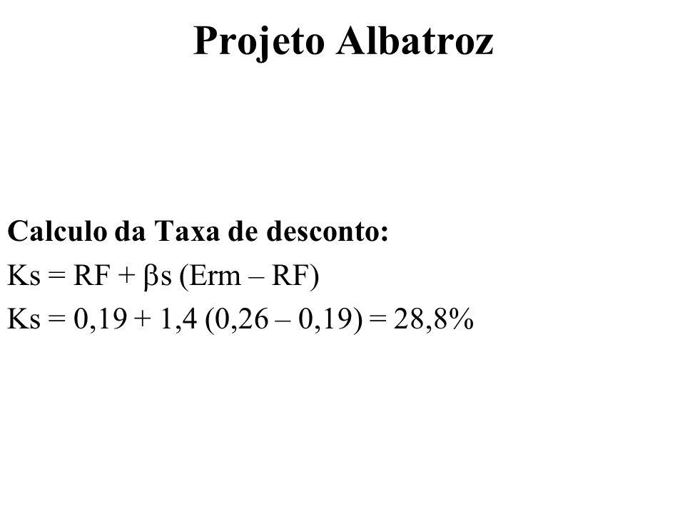 Projeto Albatroz Calculo da Taxa de desconto: Ks = RF + s (Erm – RF) Ks = 0,19 + 1,4 (0,26 – 0,19) = 28,8%