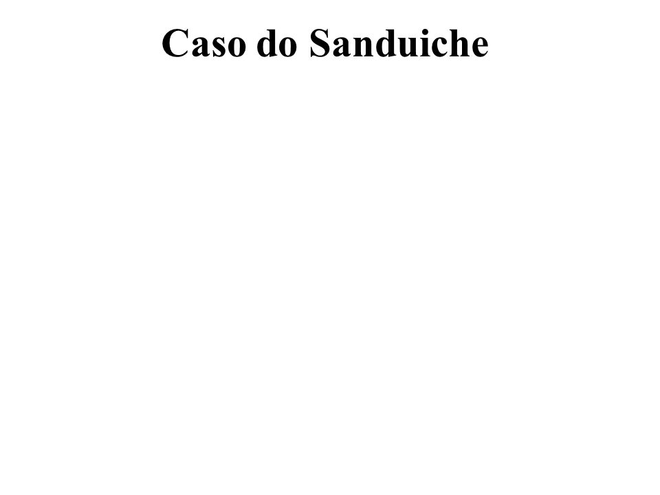 Caso do Sanduíche Ponto de Equilíbrio Operacional P Q = CF + CV Q 2 Q = 1.500 + 0,8 Q 2 Q - 0,8 Q = 1.500 1,2 Q = 1.500 Q = 1.500 / 1,2 Q = 1.250 Resposta = 1.250 sanduiches