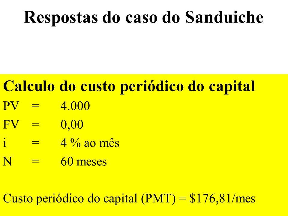 Respostas do caso do Sanduiche Calculo do custo periódico do capital PV = 4.000 FV=0,00 i = 4 % ao mês N = 60 meses Custo periódico do capital (PMT) =